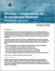 Valuation Considerations for Broker-Quoted Positions